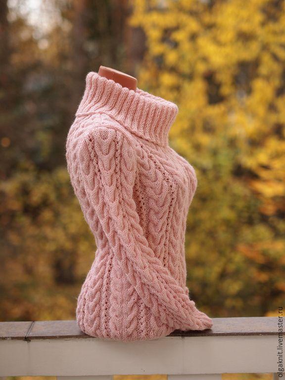 """Купить Шерстяной вязаный свитер """"Светлая бегония"""" - кремовый, свитер женский, свитер вязаный"""