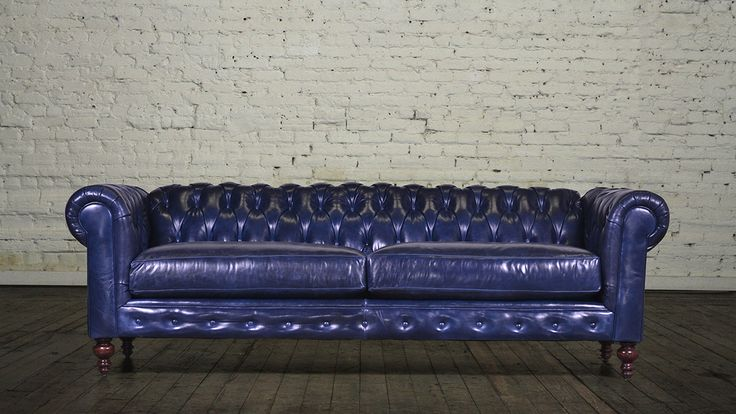 This Is A Sapphire Leather Chesterfield Sleeper Sofa