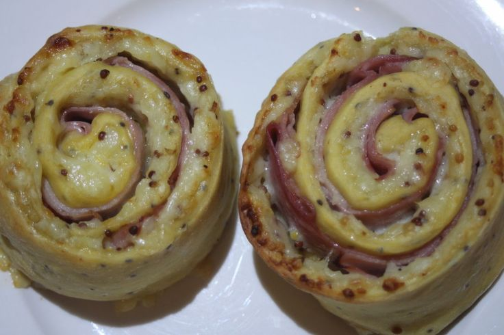 Seeded Mustard, Ham and Mayo Scrolls