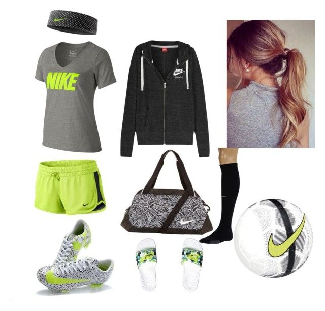 """""""soccer outfit"""" by perriekate ❤ liked on Polyvore featuring NIKE"""