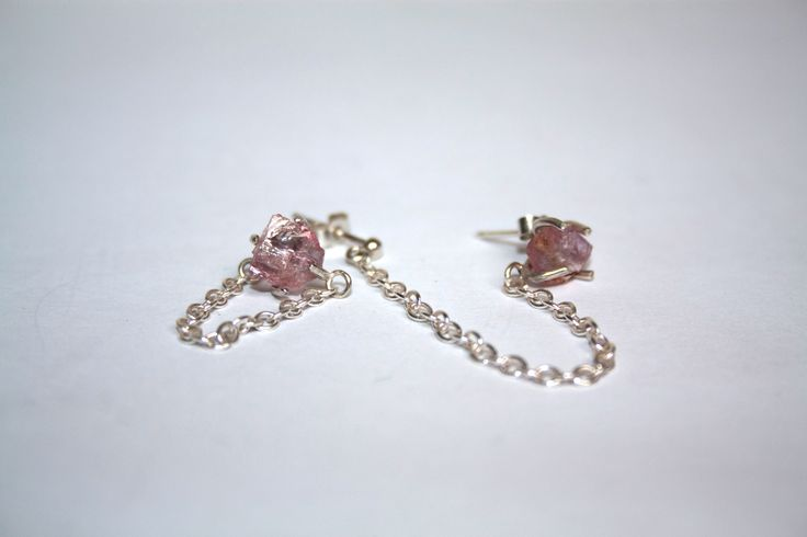 Ara earring and ear cuff set with rough pink tourmaline crystals