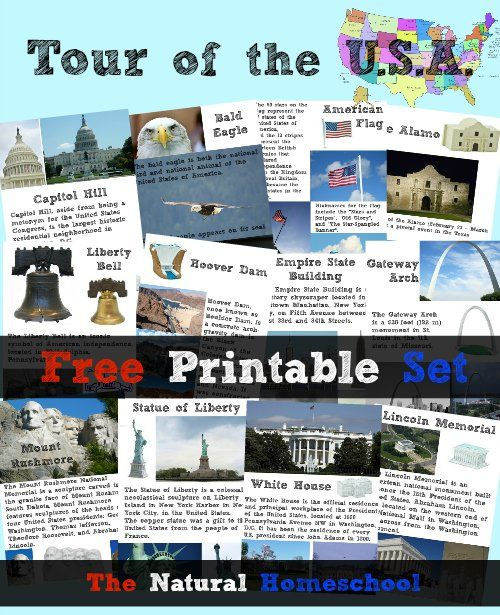 Tour of the USA: Lessons, Activities, Books & Free Printables.  Use when a little older