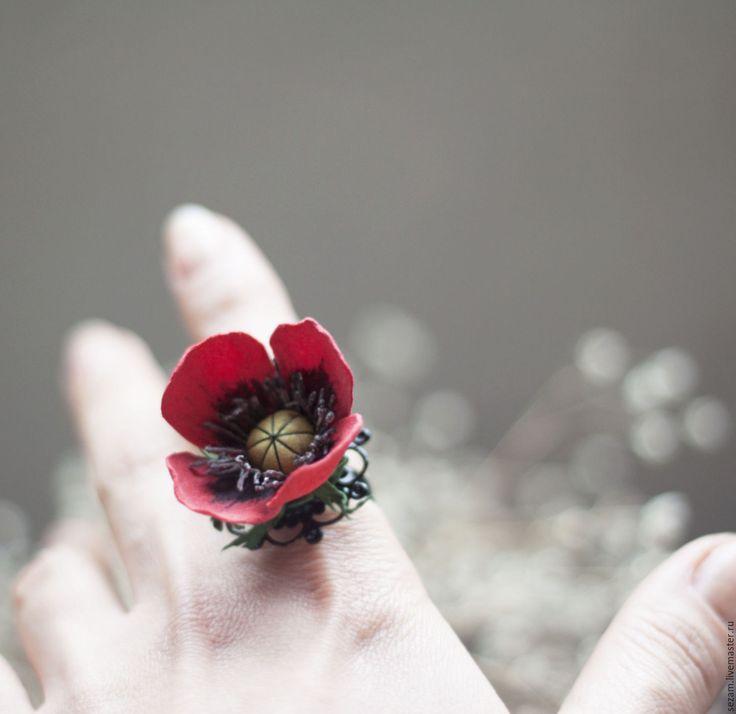 Купить Цветочные колечки - белый, разноцветье, цветочные колечки, кольцо с цветком, ромашка, мак