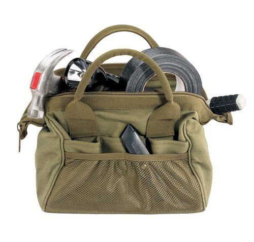 """Platoon Tool Kit/Medics Bag- Black by Rothco. Save 15 Off!. $23.29. 8 interior and 10 exterior pouches. Heavyweight cotton canvas. Multi purpose framed super wide mouth for easy access. cotton. Hard bottom; nylon zipper. Strong carry handles. Rothco Platoon Tool Kit / Medics Tote is a fantastic multipurpose bag. This item could be used for tools and also be a cute handbag. Has a large main compartment as well as 18 pouches. Specifications: 12"""" X 10"""" X 11"""" , carry handles"""