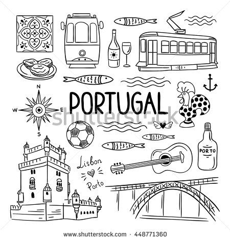 Portugal elements and symbols. Hand drawn icons of Portugal, Lisbon and Porto. Outline travel icons