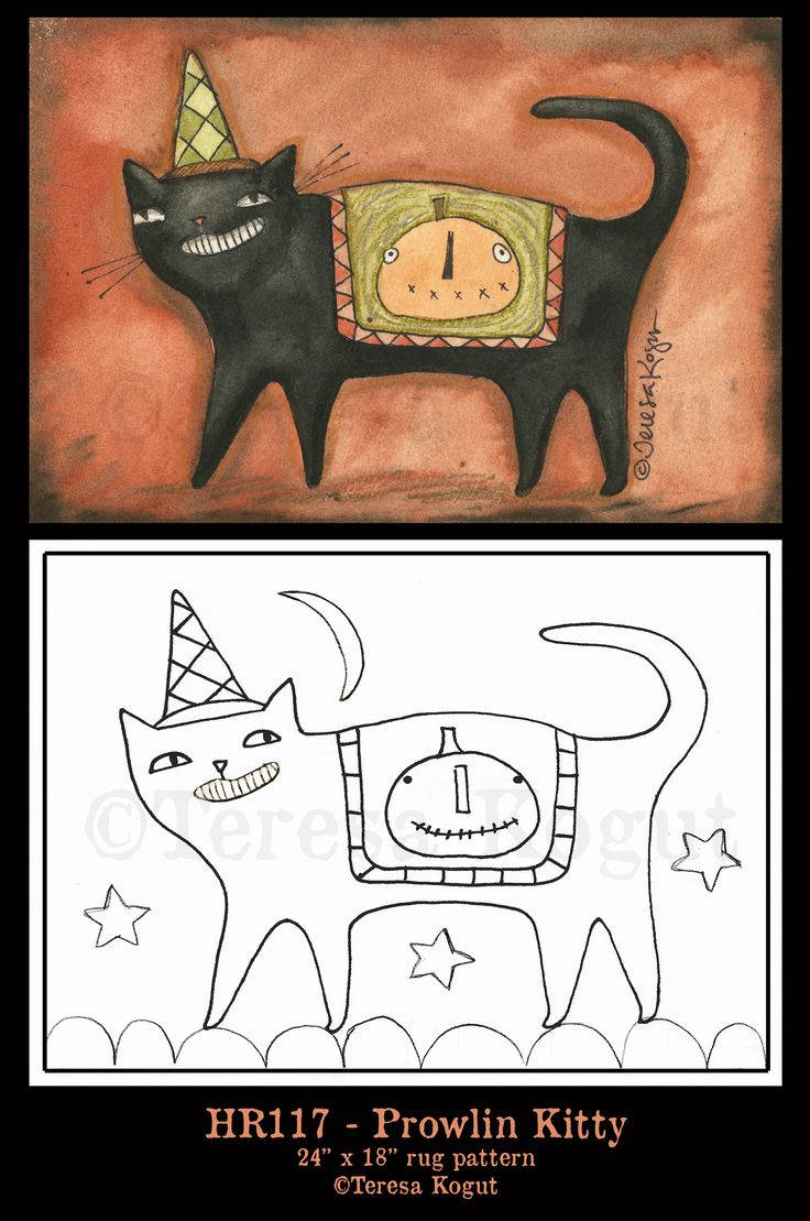 33 best punch needle images on pinterest patterns drawings and primitive halloween cat hooked rug pattern by teresa kogut drawing inspiration bankloansurffo Gallery