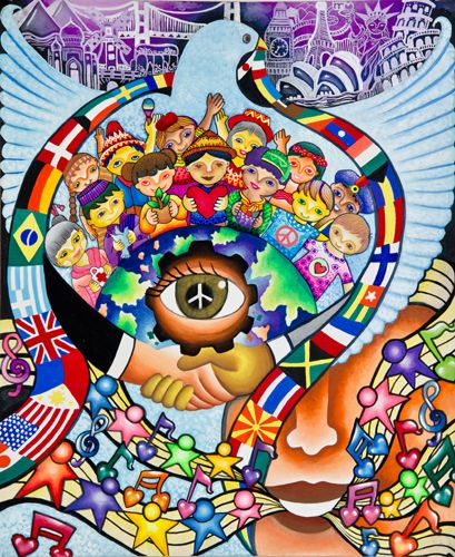 "2011-12 Grand Prize Winner  Trisha Co Reyes 13  years old  Philippines. Sponsored by  Manila Centennial Lions Club    "" I hope I can make people see the important role children have in spreading peace throughout the world … we children are future leaders."""