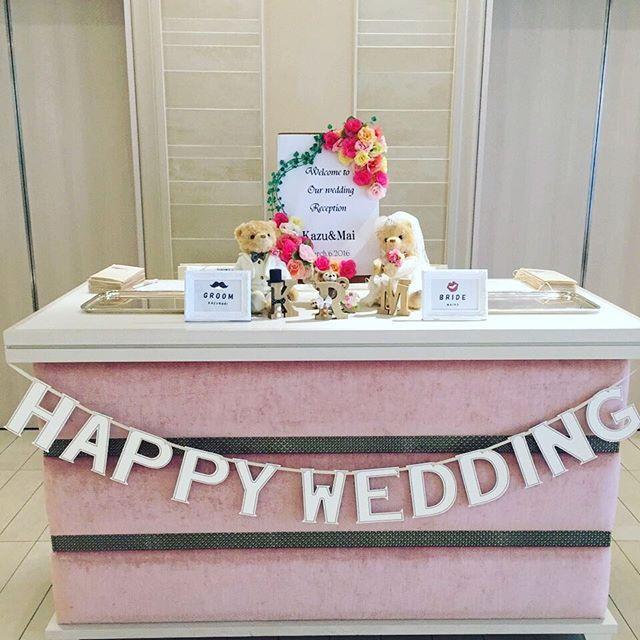 * * 受付スペース♡ * ガーランドは@keichaaan.n から♡ * くまさんは@mamikosuda から♡ りっくんはダッフィでちゃんと作ったよ! * * #結婚式レポ #まずはものから #卒花 #受付スペース #アニヴェルセル表参道