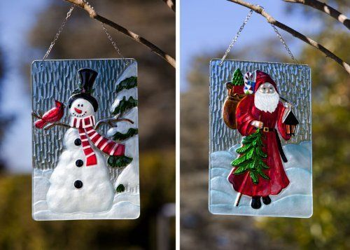 Holiday Traditions Design Posts, Metal and Glass, 8.5x0.25x12 Inches, Assorted 2 by Ashley Gifts. $39.99