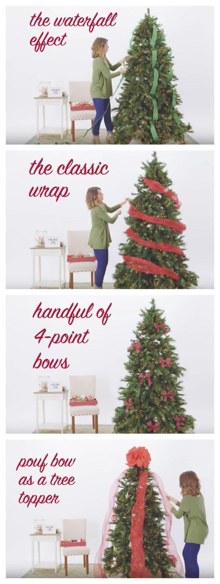 how to video 5 ways to use ribbon on your christmas tree decorating for christmas pinterest christmas christmas decorations and christmas tree - How To Decorate A Christmas Tree Step By Step