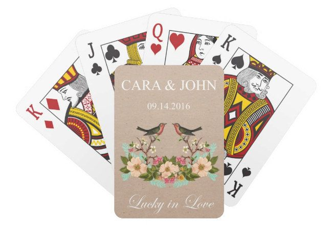 Personalized Wedding Playing Cards, Bird Custom Deck of Cards, Wedding Favor by ShelbyAnnGifts on Etsy #weddingfavor #weddinggift #personalizedplayingcards