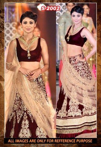 Shilpa Shetty Designer Moss Velvet Maroon Wedding Wear Lehenga Choli