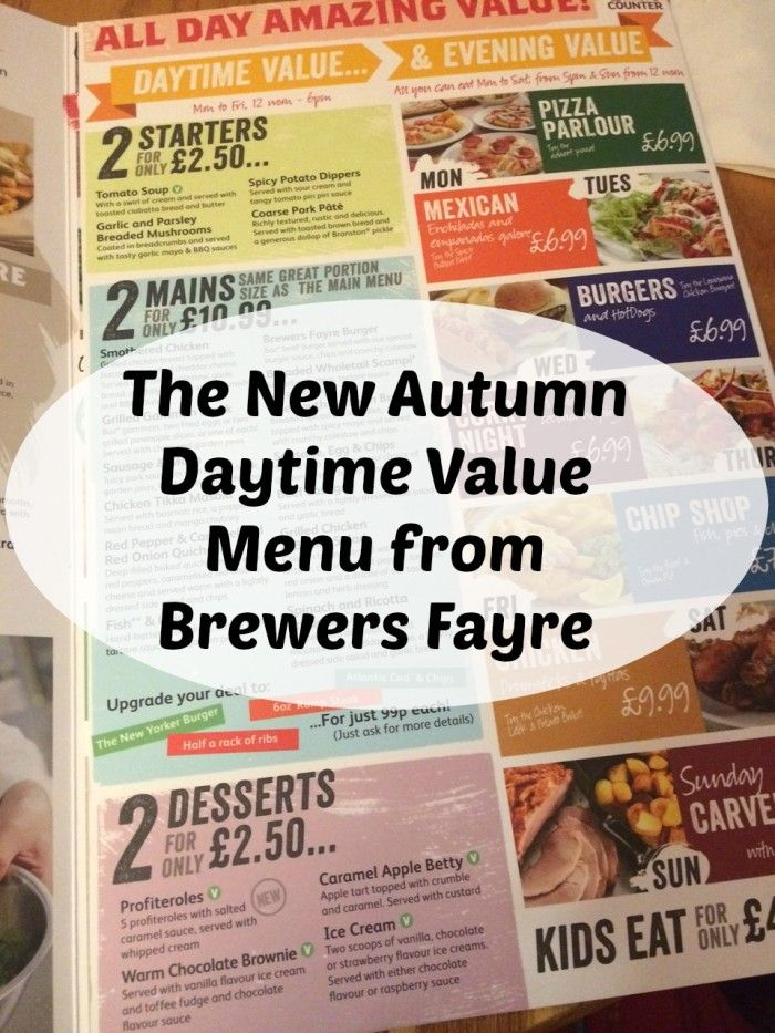 The New Autumn Daytime Value Menu from Brewers Fayre