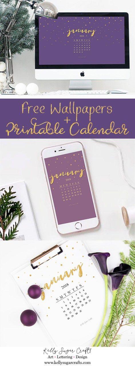 Free January 2018 Calendar Wallpapers + Printable by Kelly Sugar Crafts #printablecalendar #desktopwallpaper #phonewallpaper #background #printable #calendar #wallpapers