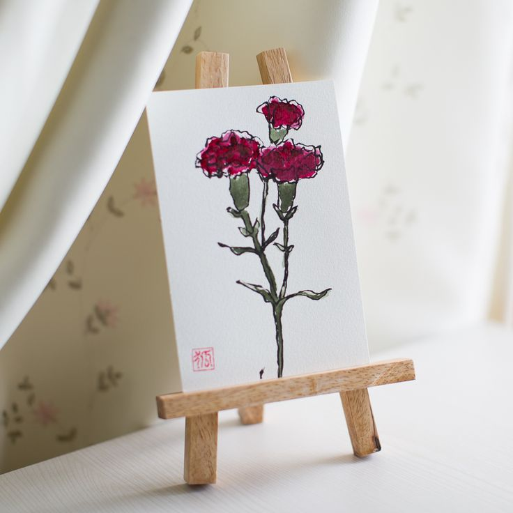 flower, flowers, sumi-e, ink painting, chinese ink painting, postcard, etegami, handmade postcard, hand drawn postcard, watercolor, gansai color