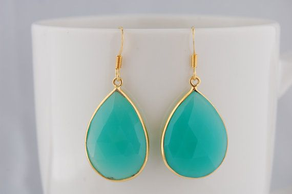 Turquoise chalcedony  24 k gold vermeil by alittleobsessed on Etsy, $64.00
