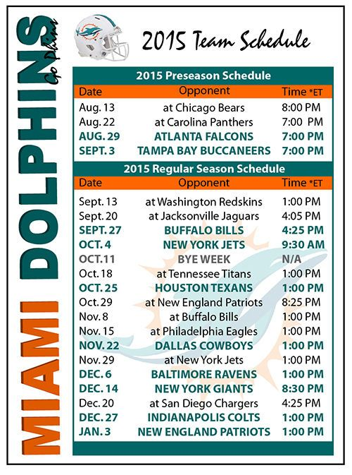 2015 Miami Dolphins Football Schedule Magnet #Magnet