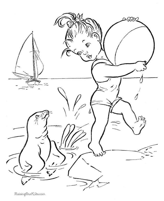 Free Printable Beach coloring page for kid