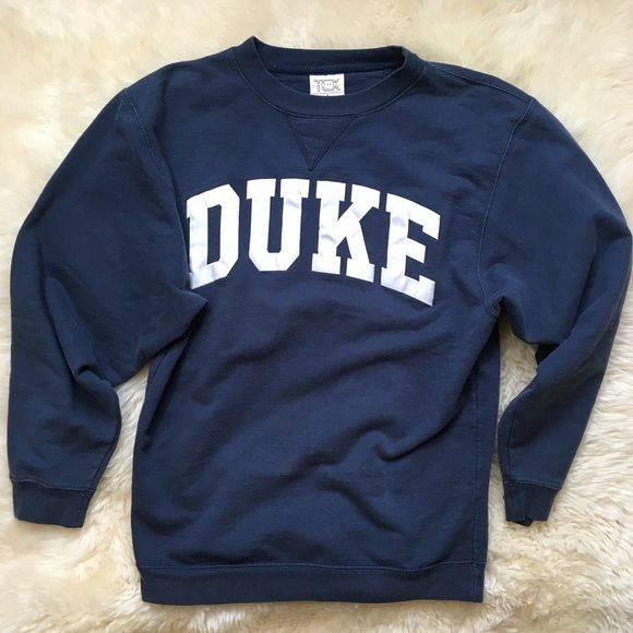 Duke Crewneck Sweatshirt Navy blue with white lettering crewneck sweatshirt. Cotton and polyester. In good condition! Sweaters Crew & Scoop Necks