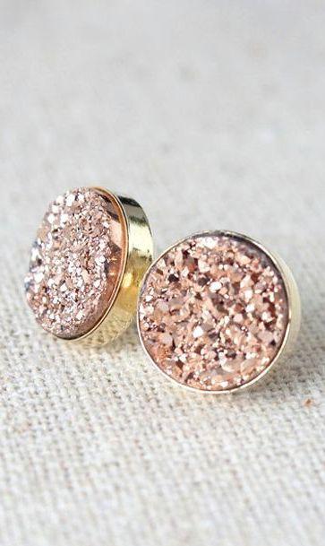 Rose Gold Earrings | Bridesmaids Druzy Stud Earrings