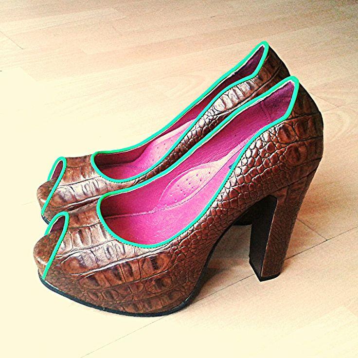 Brown croco leather peep toes. Custom made.