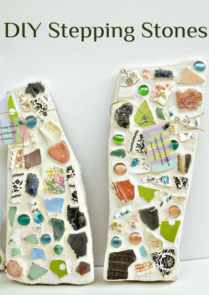 stepping-stones-webtextCrafts Ideas, Steppingstoneswebtext Gardens, Diy Gardens Step Stones, Mosaics Step Stones Mosaics, Diy Mosaics, Broken China, Grout Step Stones, Mosaics Broken Rocks, Stepping Stones