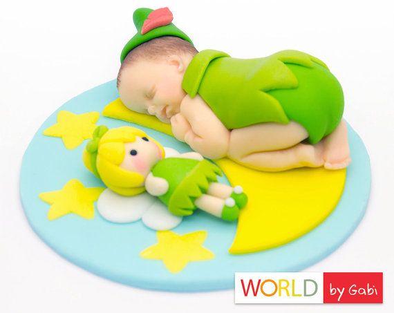 Peter Pan Cake Topper  Baby Shower  Baby Fondant  by WorldByGabi