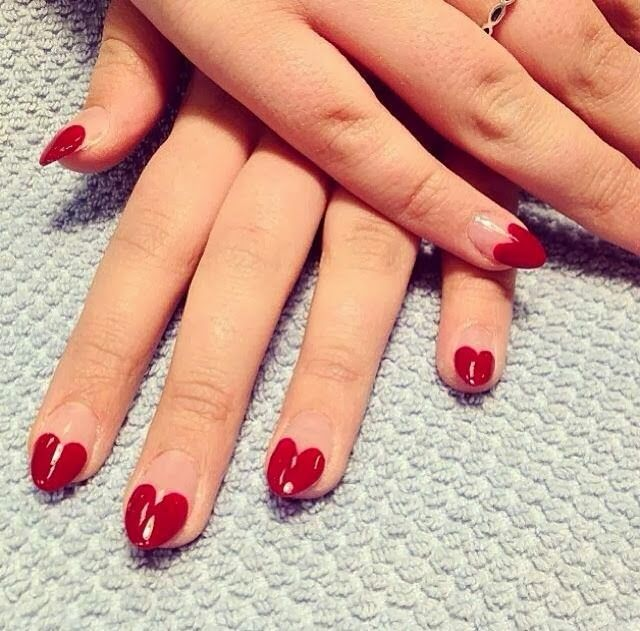 Ladies Nails Trends...almond nails with heart tips