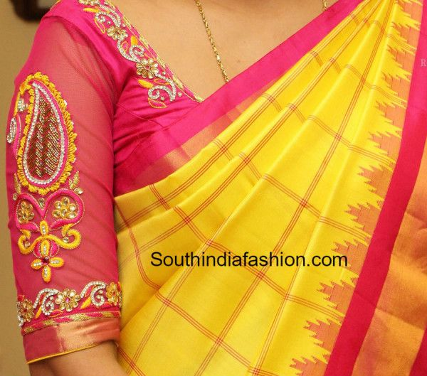 Elbow length sleeves simple and pretty maggam work blouse for silk sarees. Related PostsZardosi Work Designer BlouseTop 5 Bridal Blouses Trending This Wedding Season!!Maggam Work Designer BlouseBeautiful Wedding Saree Blouse