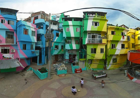 Dutch artists Jeroen Koolhaas and Dre Urhahn who has decorated the 34 houses in Rio's slums area Praça Cantão.: Public Spaces, Color, Rio De Janeiro, Favela Paintings, Fish, Street Art, Community Art, Paintings Projects, Streetart