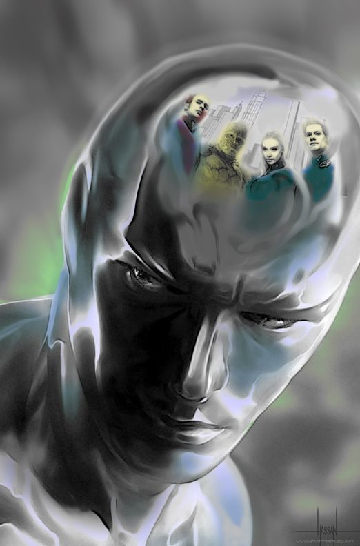 I like the unique image here. Silver Surfer and Fantastic Four by Rob Hassan