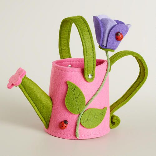 One of my favorite discoveries at WorldMarket.com: Pink Watering Can Felt Easter Basket