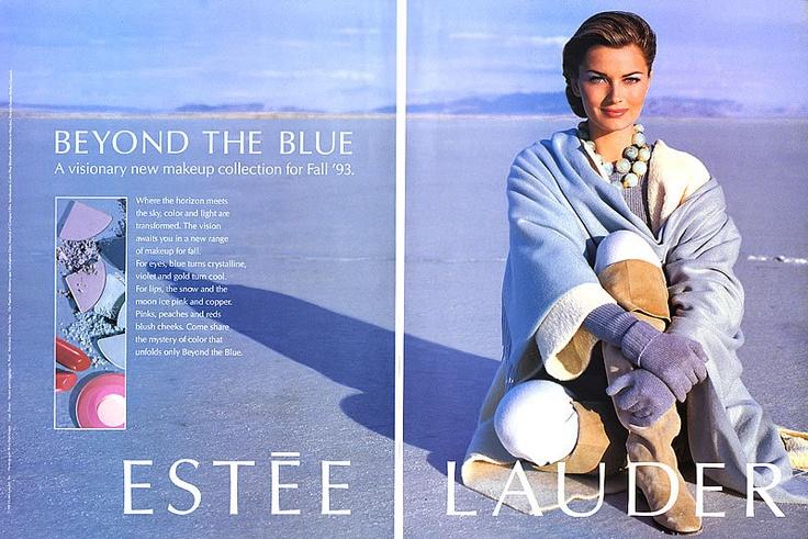 1993 Estee Paulina Porizkova Blue Makeup Magazine Ad   eBay