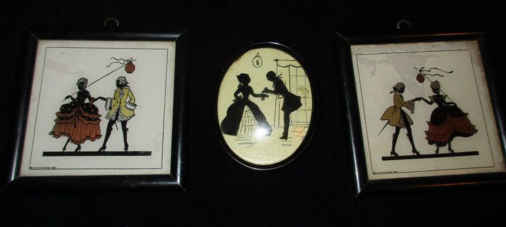 PAIR C.& A. Richards Boston Reverse Painted MINUET SilhouetteS 1930 & OVAL FRAME