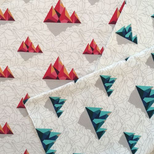 Mountains - beautiful, inaccessible, magical. Our graphic version, in warm and cool tones. Suitable both for male and female. Design by Miekkie. #fabric #knitwear #sewing #sewingforkids #sewingproject #sewinglove #tkaniny #dzianiny #szycie #niepowtarzalnewzory #miekkiedesign