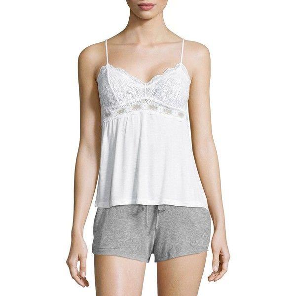 Eberjey India Camisole ($65) ❤ liked on Polyvore featuring intimates, camis, white v neck cami, white v neck camisole, cami lingerie, white lace camisole and white camisole