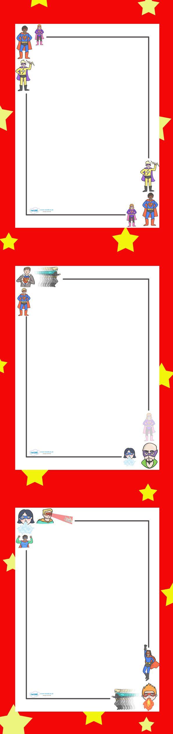 Superhero Page Borders. Free Printables.