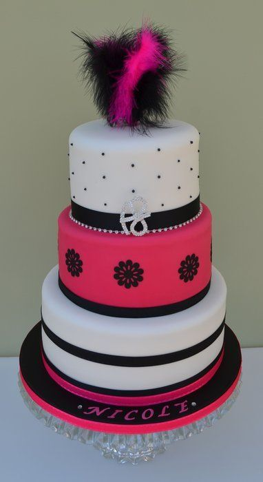 pink and black birthday cake: Cakes For 18Th Birthday, Cakes Ideas, Cakes Cupcakes, Black White, Cakes Decor, Birthday Cakes 18, Pink And Black Birthday Cakes, White Cakes, Cupcakes Cakes
