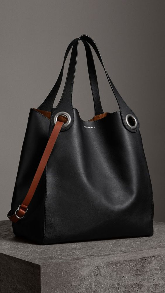 cdcfdb226 The Large Leather Grommet Detail Tote in Black | Burberry United States