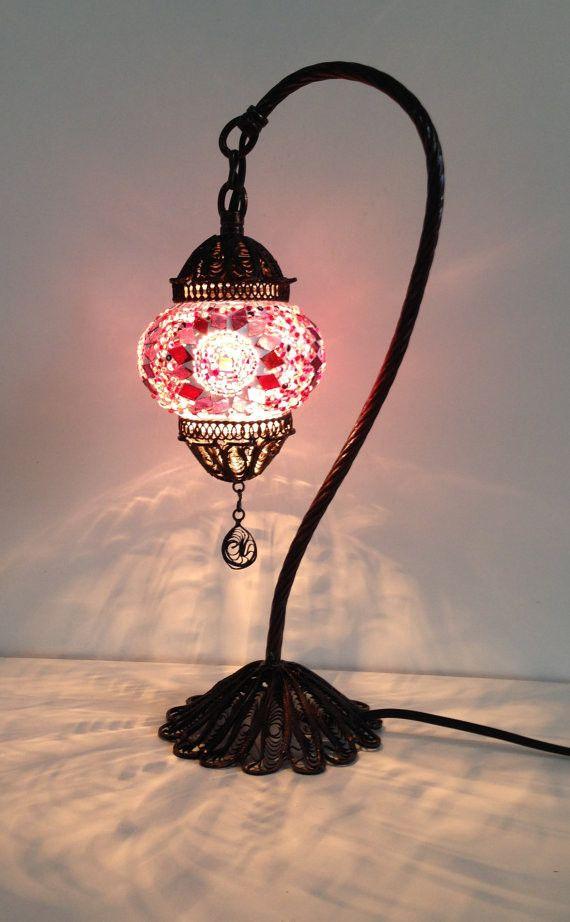 pink turkish u0026 stylish boho mosaic lamp with hand crafted copper base