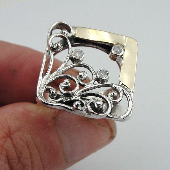 Vierkante Ring 925 Sterling Zilver 9K geel gouden door jewela