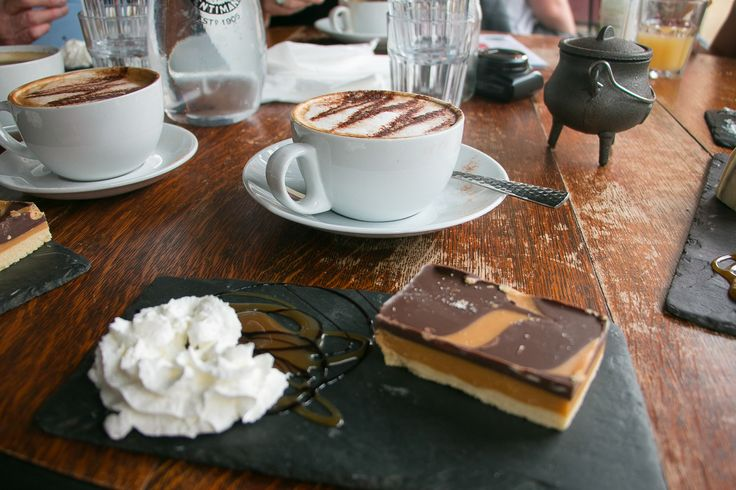 Cappuccino & Millionaire's Shortbread - tasty treats at Hubble Bubble Coffee House in Gloucester, Gloucestershire UK. | Photograph taken on the Treasure Trails' Gloucester City and Docks by @amytinson1. (Summer 2017) | Amy Tinson Photography