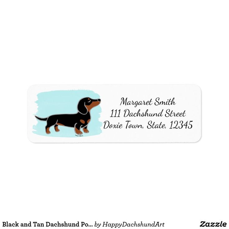 Black and Tan #Dachshund Posing Watercolor Return Address Label #stationery