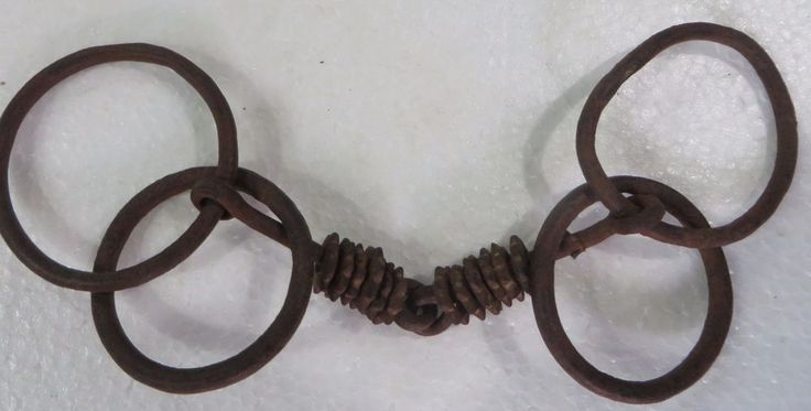 Antique Mouth Horse Tack snaffle Bit Metal Indian Origin 4 Rings ornaments