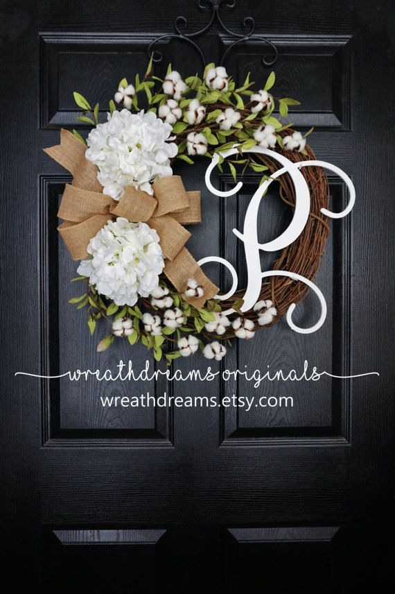 White Hydrangea & Cotton Grapevine Wreath with by WreathDreams