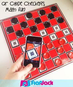 Classroom Freebies: QR Code Math Checkers Fun - GCM and LCF