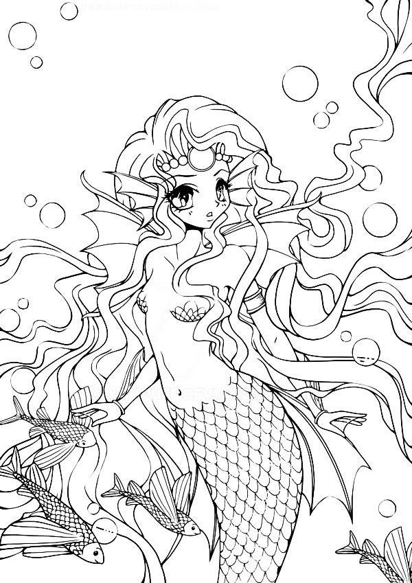 Картинки аниме русалки раскраски