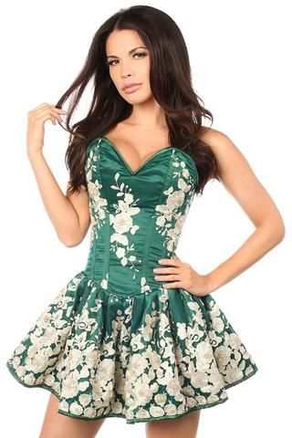 28ac276bf53 Top Drawer Premium Dark Green Floral Steel Boned Short Corset Dress ...