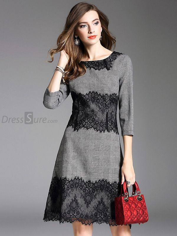Buy Vintage Lace Stitching O-Neck Skater Dress with High Quality and Lovely Serv…