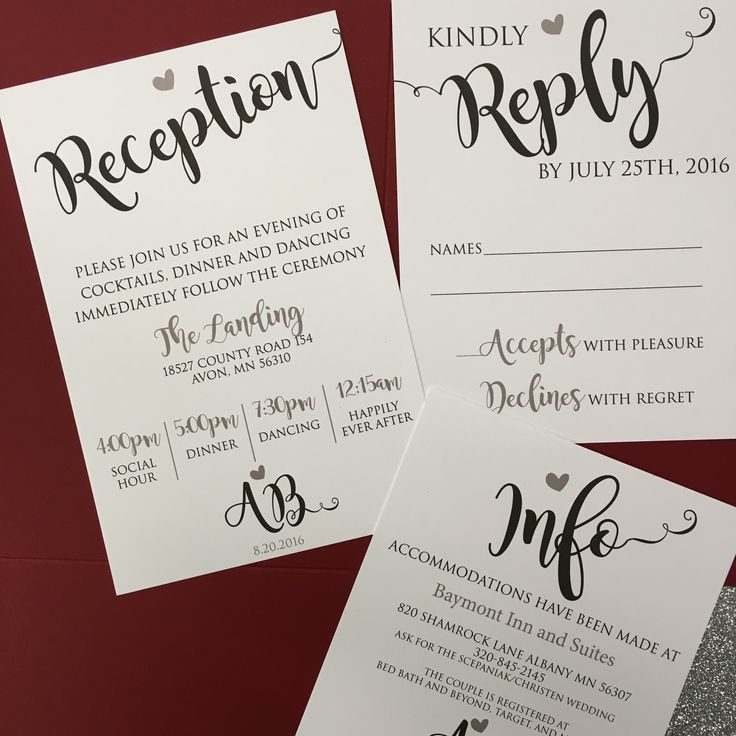 Custom wedding invitations and enclosures featuring silver